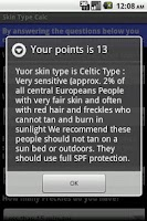 Screenshot of Skin Type Calc