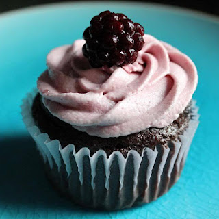 Chocolate Cupcake with Blackberry Filling and Red Wine Frosting