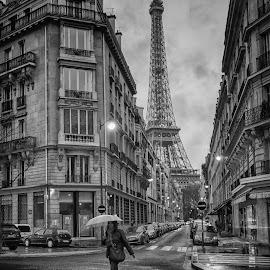 Rain on the Rue de Monttessuy by George Johnson - City,  Street & Park  Street Scenes ( eiffel tower, paris, street, people, rain )