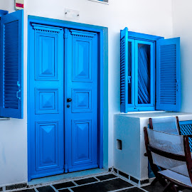 blue and white by Vibeke Friis - Buildings & Architecture Homes ( terrace, blue, white, door, windowsm,  )