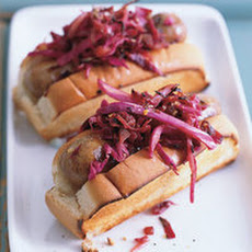 Chicken Sausages with Warm Red Slaw-Kraut