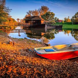 The boat mill in Kolarovo by Zoltan Duray - Transportation Boats ( water, kolárovo, danube #kolarovo #kolárovo #slovakia #slovensko #boat #bridge #color #house #mill #sky #small danube #water #watermillgúta, house, boat, watermill, slovakia, slovensko, mill, sky, color, kolarovo, small danube, bridge )