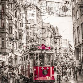 Old red tram by Stefania Loriga - City,  Street & Park  Street Scenes