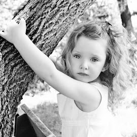 So Lovely B & W by Cheryl Korotky - Babies & Children Child Portraits ( children playing in trees, a heartbeat in time photography, amazing faces, b & w, beautiful children, child model nevaeh, portrait )