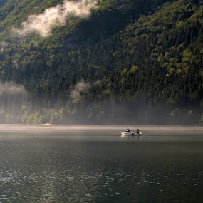 morning fishing by Jože Borišek - Landscapes Weather ( bohinj-slovenia )