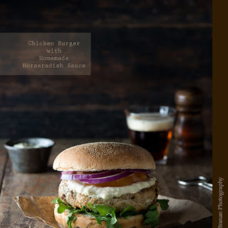 Chicken Burger with Homemade Horseradish Sauce