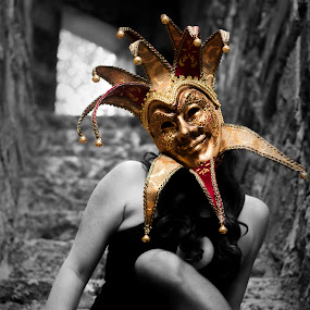 The Jester by Ryan Smiley - People Street & Candids ( jester mask masquerade gold blackandwhite rksmiley ca california stairs losangeles la abstract hot sexy girl beautiful gorgeous legs dress black color )