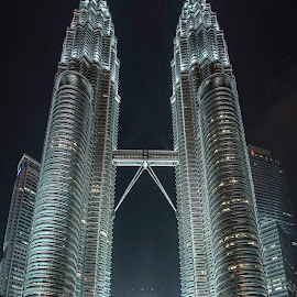 Petronas towers by Annette Flottwell - City,  Street & Park  Night ( midnight, 18mm mf, lenstagger, petronas towers, kuala lumpur,  )