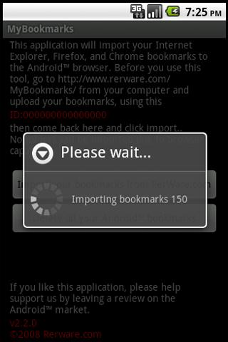 mybookmarks for android screenshot