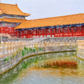 Forbidden City by Ferdinand Ludo - Painting All Painting ( crayon, forbidden city, colored, beijing, china )