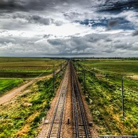 Railroad HDR by Lupu Radu - Transportation Railway Tracks ( clouds, field, hdr, dobrogea, railroad )