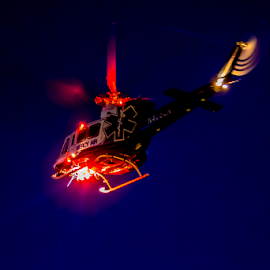 Emergency Air Lift  at Night by Janet Aguila Krause - Transportation Helicopters ( hospital transport, socal, medic helicopter, helicopter transport, big bear hospital, emergency airlift, big bear lake )