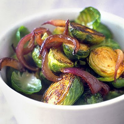 Brussels Sprouts with Vinegar-Glazed Red Onions