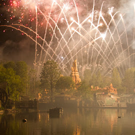 Fireworks over the Rivers of America by Nicole Nichols - City,  Street & Park  Amusement Parks ( reflection, fireworks, disneyland, big thunder mountain,  )