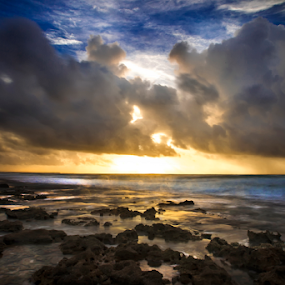 Sunrise at Cozumel by Cristobal Garciaferro Rubio - Landscapes Waterscapes ( shore, clouds, sand, mexico, waves, cozumel, sea, dramatic sky, sky, rieviera maya, dramatic, long exposure, rocks )