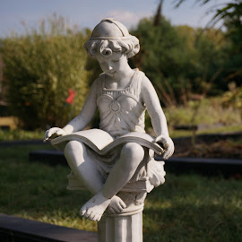 Reading Girl by Joe Spandrusyszyn - Buildings & Architecture Statues & Monuments ( statue, girl, sitting, pedistal, book, outside )