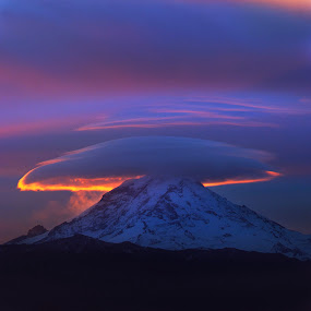 Lenticular Sunrise by Dustin Penman - Landscapes Cloud Formations ( clouds, buckley, washington, mt. rainier., western, sunrise, lenticular )