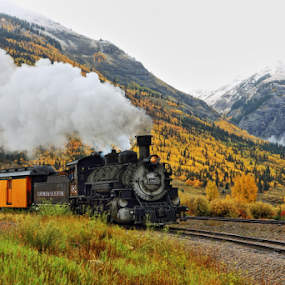 Steam and Smoke by Dennis Ducilla - Transportation Trains ( fall steam trains, durango, color, colorado, yellow leaves, silverton, trains, steam )