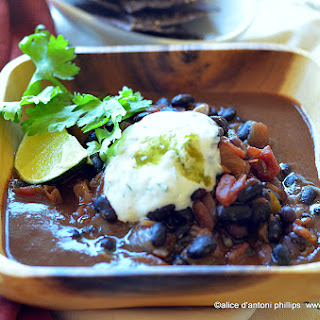 Cuban Black Turtle Beans with Yogurt Sour Cream Lime Cilantro Sauce