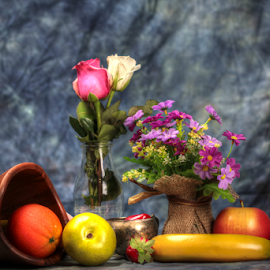 by Dipali S - Artistic Objects Still Life ( banana, orange, vase, flora, still life, fruits, spring, flower, plum, pear )