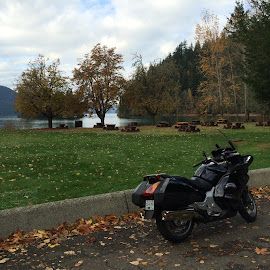 A beautiful fall day for a ride to Harrison. by Glen Slingerland - Transportation Motorcycles
