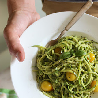 Zucchini Pasta with Vegan Cashew Basil Pesto