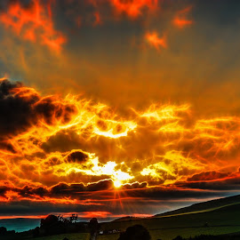 Fire in the sky over Strathmartine by Lee Black - Landscapes Sunsets & Sunrises ( sky, sun set, dundee, sunset, strathmartine, fire,  )