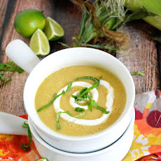 {30 Minute} Creamless Corn Soup with Lime Crema and Basil