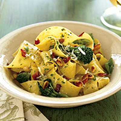 Pappardelle with Pancetta, Broccoli Rabe, and Pine Nuts