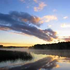 Foggy Morning by Janet Herman - Landscapes Cloud Formations ( fog, weather, cloud, cloud formation, landscapes, river )