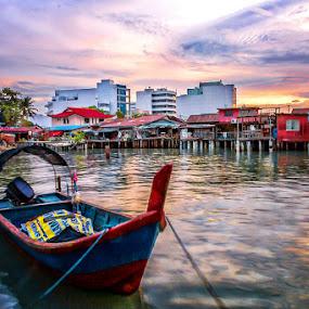 by Adeline Tan - Transportation Boats ( boats, penang, malaysia, sunrise, tan jetty, water, device, transportation,  )