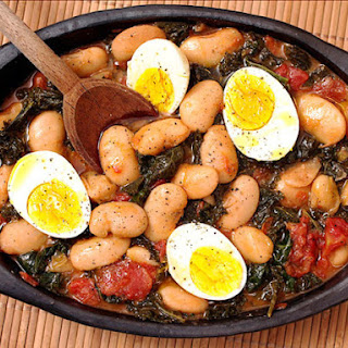 Butter Beans with Kale and Eggs