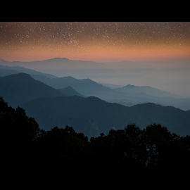 Starscape II by Souradeep Ghosh - Landscapes Mountains & Hills ( clouds, hill, mountain, star, nightsky, dusk )