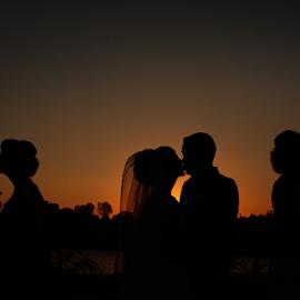 Wedding Sunset by Alexandru Tunschi - Wedding Groups ( sunset, wedding, group, bride, groom )