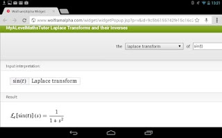 Screenshot of Laplace Transforms Calculator