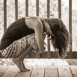 Yoga Ball by Michael  Starr - Sports & Fitness Fitness ( calm, concentration, sepia, yoga, portrait )
