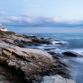 Blue Hour, Beavertail Light by Hali Sowle - Landscapes Waterscapes ( beavertail sp, beavertail, rhode island, ri, beavertail lighthouse, jamestown,  )