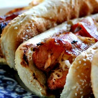 Grilled Bacon-Wrapped Stuffed Hot Dogs