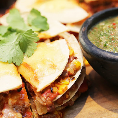 Mexican Tortilla Stack With Salsa Verde