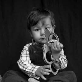 future policeman? by Maša Pešut Kukina - Babies & Children Child Portraits ( child, cowboy, policeman, handcuffs, boy, kid )