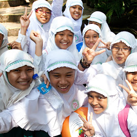 Take our picture! by Mike O'Connor - People Street & Candids ( nuns, girls, indonesia, white, jakarta )