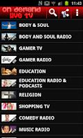 Screenshot of On Demand Live TV