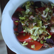 Roasted Beet Salad with Frizzled Leeks and Bacon