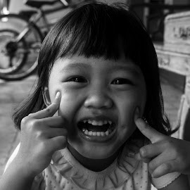 Kirani by Putu Agung Wija Putera - Babies & Children Children Candids ( child, monochrome, black and white, candid, smile, cute )