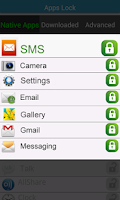 Screenshot of SMS & Apps Lock