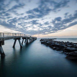 Runway by Tyler Olson - Landscapes Waterscapes ( port canaveral, sky, cape canaveral, florida, pier, ocean, sunrise, beach )