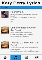 Screenshot of Katy Perry Songs & Lyrics App