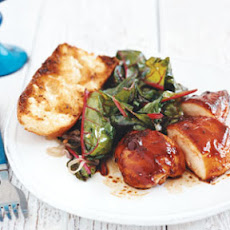 Broiled Molasses Chicken Breasts with Sauteed Swiss Chard