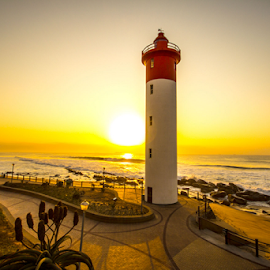 Umhlanga Lighthouse by Nick Ferreira - Landscapes Beaches ( waterscape, south africa, lighthouse, ocean, beach, seascape, sunrise, Urban, City, Lifestyle )