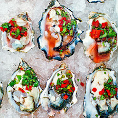 Oysters on the Half Shell with Chile, Cilantro, and Meyer Lemon Salsa